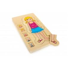 Viacvrstvové puzzle ľudské telo - dievčatko