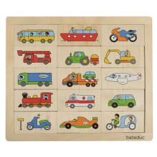 Drevené puzzle dopravné prostriedky