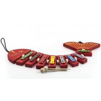 Drevená zvonkohra ryba - červená