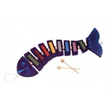 Drevená zvonkohra ryba - modrá